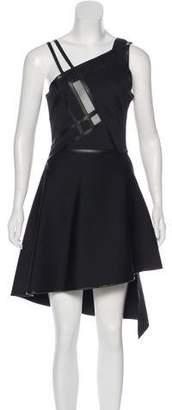 David Koma Leather-Trimmed Mini Dress
