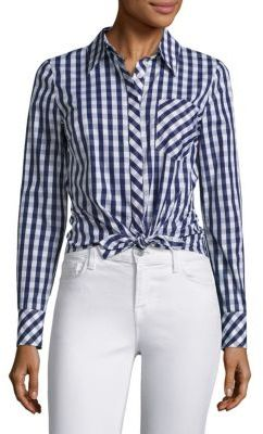 MILLY Tie-Front Gingham Shirt $295 thestylecure.com