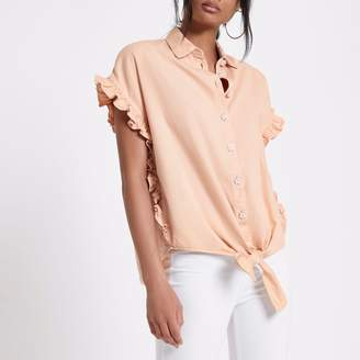 River Island Womens Light Pink embellished tie front denim shirt