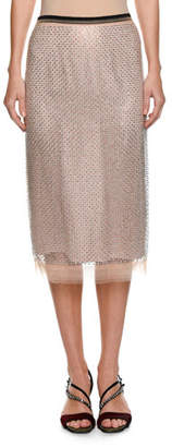 No.21 No. 21 Crystal Embellished Pencil Skirt
