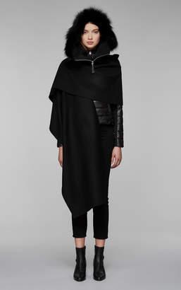 Mackage HELINA-X wool cloak with fur trim