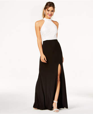B. Darlin Juniors' Colorblocked Halter Gown, Created for Macy's