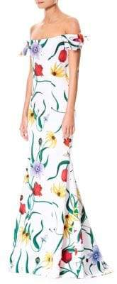 Carolina Herrera Off-Shoulder Floral Trumpet Gown