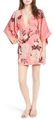 Women's Majorelle Windmill Embroidered Kimono Sleeve Dress $248 thestylecure.com