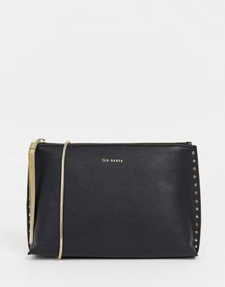 Ted Baker Tesssa studded leather clutch with chain