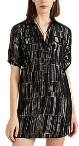 Saint Laurent Women's Lamé-Striped Silk Chiffon Shirtdress - Black