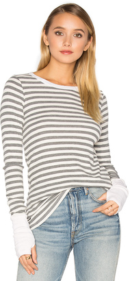 Michael Stars Striped Thermal Long Sleeve with Thumbholes $78 thestylecure.com