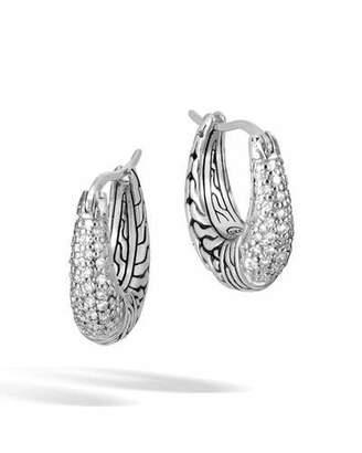 John Hardy Classic Chain Diamond Arch Silver Hoop Earrings
