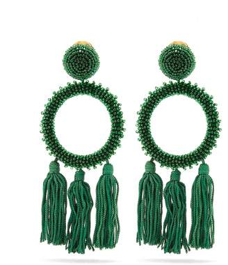 Oscar de la Renta Bead-embellished clip-on earrings