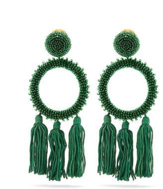Oscar de la Renta Bead-embellished clip-on earrings