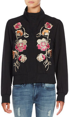 Context Floral Embroidered Bomber Jacket $120 thestylecure.com