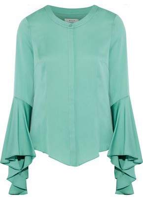 Milly Michelle Fluted Stretch-Silk Blouse
