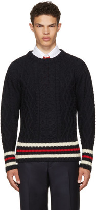 Thom Browne Navy Aran Cable Cricket Stripe Classic Crewneck Pullover $490 thestylecure.com