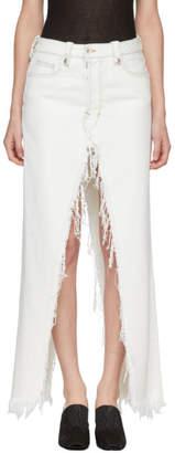 Unravel White Rigid Denim Deconstructed Long Skirt
