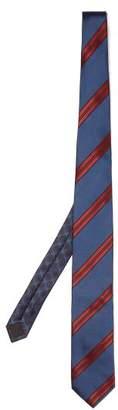 Prada Striped Tie - Mens - Navy Multi