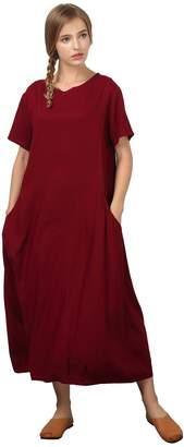 Grace Women's Linen Cotton Kaftan Soft Long Dress Large Plus Clothing C17