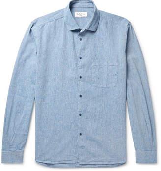 YMC Button-Down Collar Melange Slub Cotton-Blend Shirt - Men - Light blue