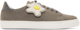 Anya Hindmarch Grey Wink & Egg Tennis Sneakers $465 thestylecure.com