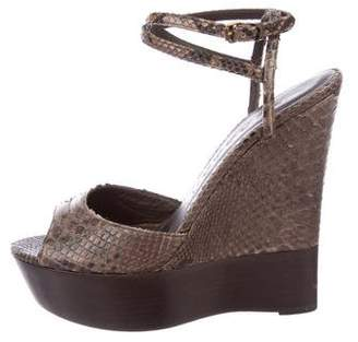 Burberry Snakeskin Wedge Sandals