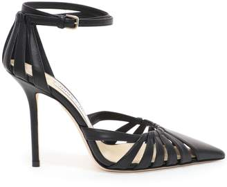4eb1247eec Jimmy Choo TRAVIS 100 Black Metallic Nappa Leather Strappy Pump with a Pointed  Toe