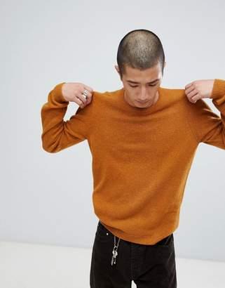 Asos Design Lambswool Jumper In Golden Brown