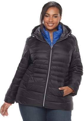 Details Plus Size Down Vest & Jacket Set