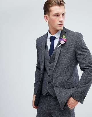 Farah Smart Skinny Wedding Suit Jacket In Charcoal Fleck