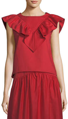 Atlantique Ascoli Vendredi Sleeveless Ruffled-Frill Cotton-Poplin Blouse