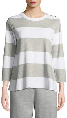 Joan Vass Striped Pullover Top, Plus Size