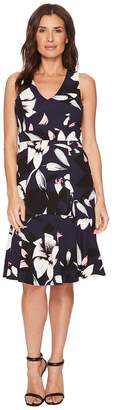 Vince Camuto Printed V-Neck Bodycon Dress with Flounce At Hem Women's Dress