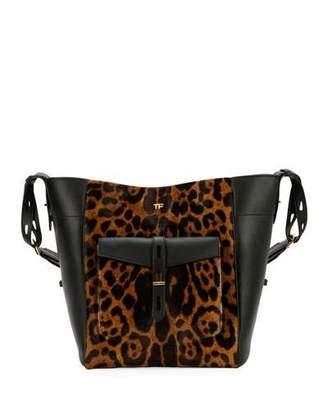 Tom Ford Leopard Calf Hair Medium Hobo Bag