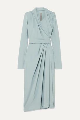 Rick Owens Draped Crepe Wrap Dress - Light blue