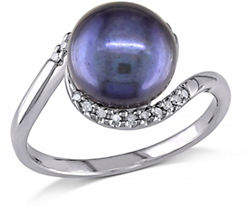 HBC CONCERTO 9-9.5mm Black Button Freshwater Pearl Sterling Silver Ring with 0.10 TCW Diamonds