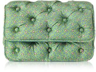 Benedetta Bruzziches Frogs Printed Green Satin Silk Carmen Shoulder Bag
