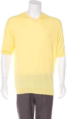Canali Short Sleeve V-Neck Sweater