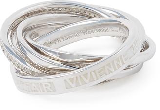 Vivienne Westwood Sterling Silver Dustin Ring White CZ/Enamel Size S