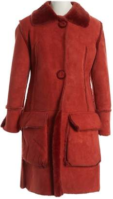 Liberty of London Designs Red Shearling Coat for Women