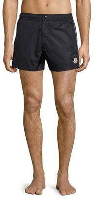 Moncler Swim Trunks with Contrast Piping, Navy $200 thestylecure.com