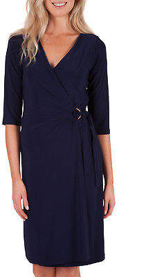 NEW Y Womens Knee Length Dresses 3/4 Sleeve Cross Over Dress