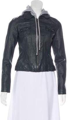 BB Dakota Leather Hooded Jacket