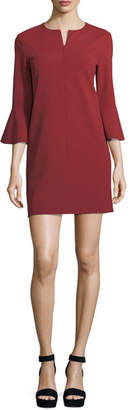 Tibi V-Neck Bell-Sleeve Stretch-Crepe Mini Dress