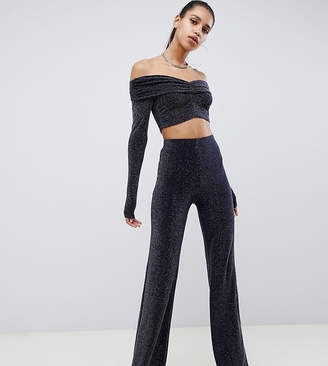 Missguided bardot glitter co ord crop top in navy