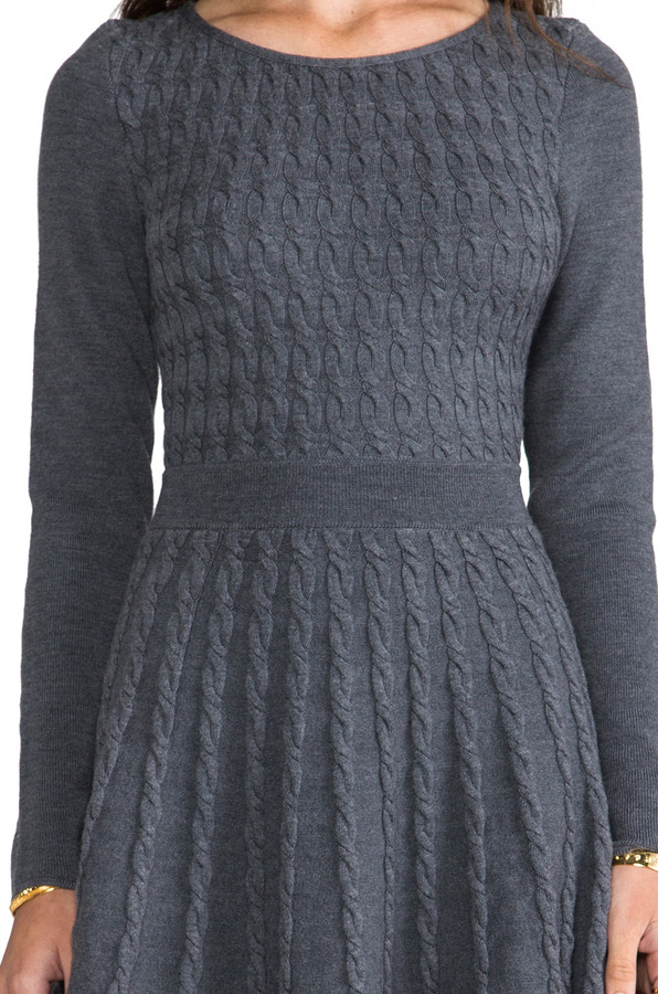Milly Cable Fit and Flare Sweater Dress