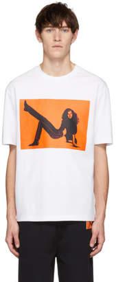 Calvin Klein Jeans Est. 1978 White and Orange Icon Printed T-Shirt