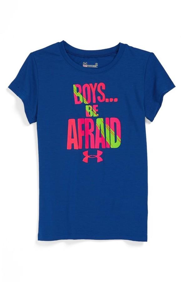Under Armour 'Boys Be Afraid' Tee (Little Girls)