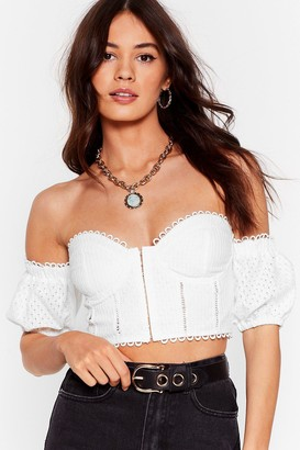 Nasty Gal Where Do You Get Off-the-Shoulder Broderie Crop Top