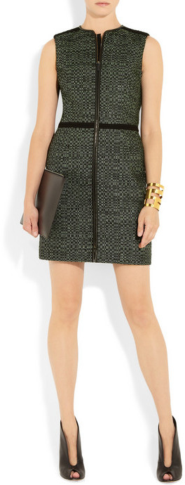 M Missoni Leather-trimmed woven dress