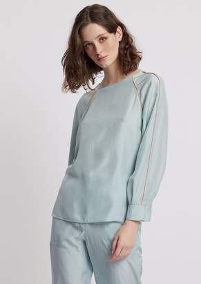 Emporio Armani Habotai Silk Blouse With Raglan Sleeves