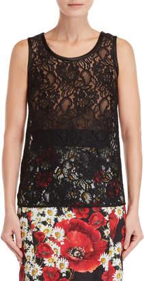 Dolce & Gabbana Midnight Navy Sheer Lace Tank