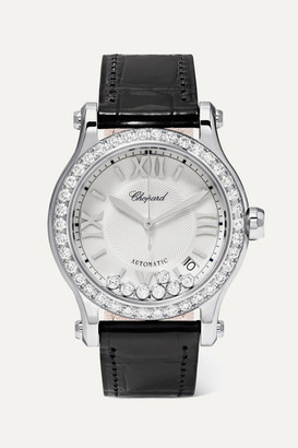 Chopard Happy Sport 36mm Stainless Steel, Alligator And Diamond Watch - Silver